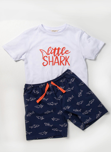 Katia & Bony Modern Marine Shark Erkek Çocuk Şort Takım  Beyaz